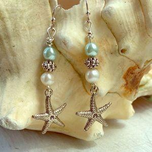 Starfish & Swarovski pearl earrings sterling posts